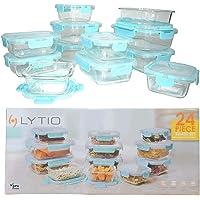 LYTIO - Juego de 24 recipientes herméticos y a prueba de fugas reutilizables resistentes a manchas y olores con tapas de…
