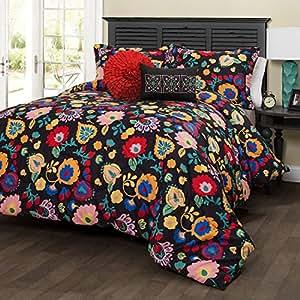 Amazon Piece Girls Black Floral Comforter King Set