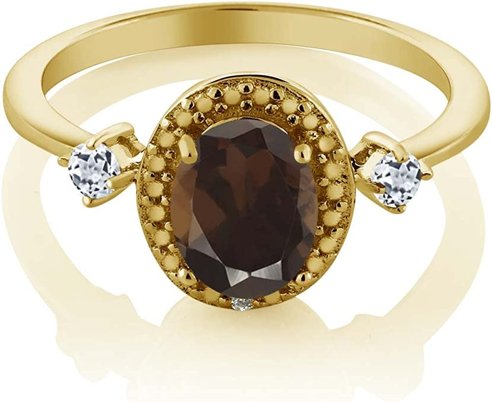 Gem Stone King 1.83 Ct Round Checkerboard Brown Smoky Quartz 18K Yellow Gold Plated Silver Mens Ring