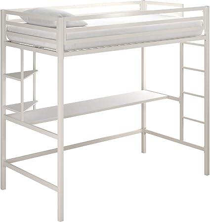 Amazon Com Novogratz Maxwell Metal Twin Loft Desk Shelves