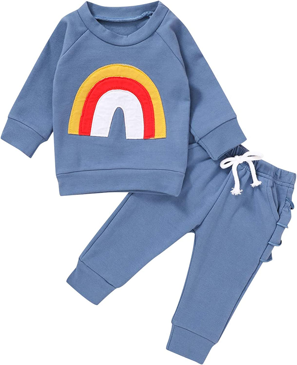 Toddler Baby Girl Boys Cotton Sweatshirt Rainbow Print Long Sleeve Shirts Pullover Top Fall Winter Clothes