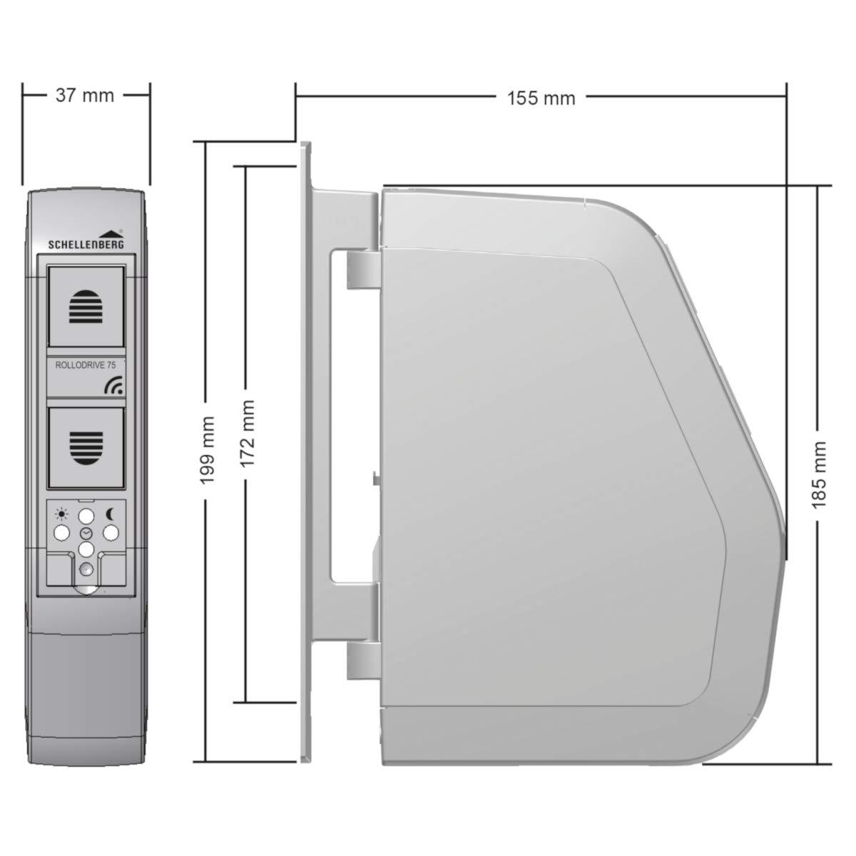 60 kg // mit Display Zeit- und Astrofunktion // inkl Schellenberg 22711 elektrischer Gurtwickler RolloDrive 105 Plus Netzstecker wei/ß // Unterputz Rolladenantrieb f/ür 23 mm Rolladen-Gurt Zugkraft max