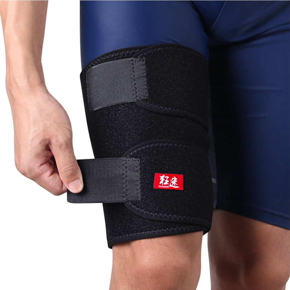 Kuangmi Sport Adjustable Thigh Calf Compression Wrap Sleeve Hamstring Pain Quad Support Recovery Groin Strains Cramps Relief for Men Women Youth Running Tennis Soccer Basketball Single