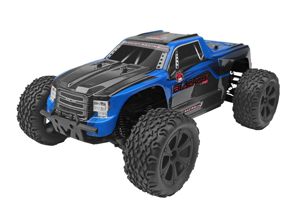 5.Redcat Racing Blackout XTE PRO 1/10 Scale Brushless Electric Monster Truck with Waterproof Electronics, Blue