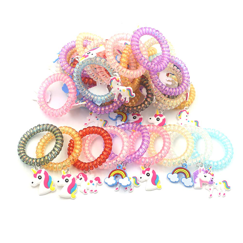 5Pcs//Set Rainbow Unicorn Pendant Hair Tie Unicorn Plastic Hair Ring Rainbow Bracelet Rubber Band Spiral Hair Ties No Crease Elastic Ponytail Holders Phone Cord Traceless Hair Ring Suitable