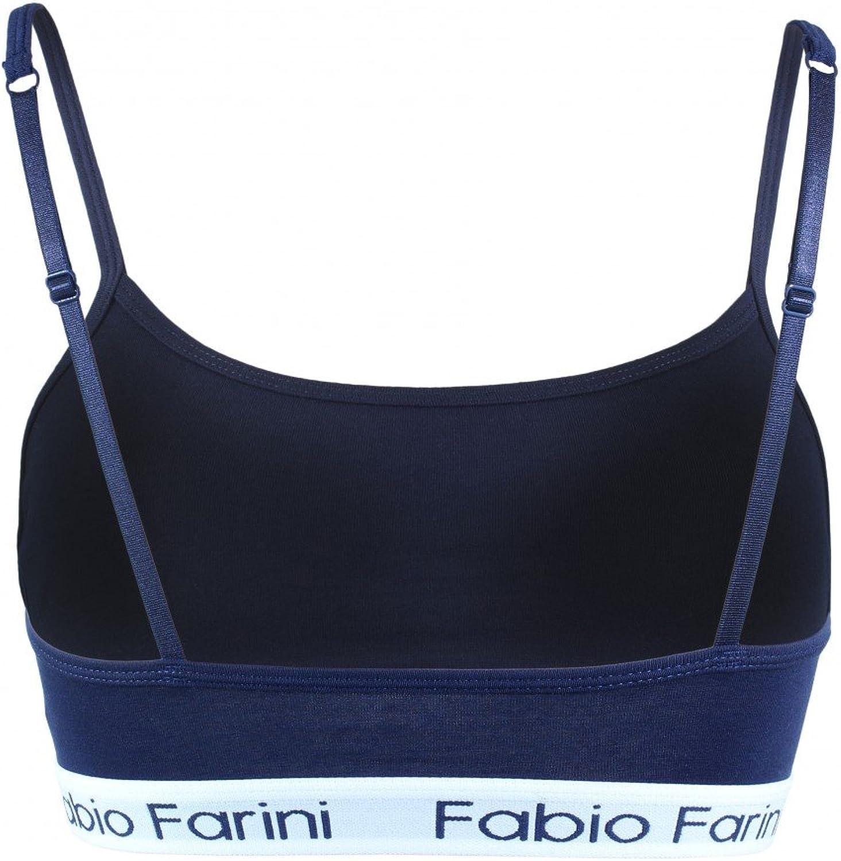 Fabio Farini Attraente Reggiseno Sportivo Bustier con Scritta di Design