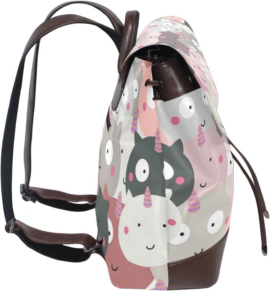 KUWT Cute Cartoon Unicorns PU Leather Backpack Photo Custom Shoulder Bag School College Book Bag Rucksack Casual Daypacks Diaper Bag for Women and Girl