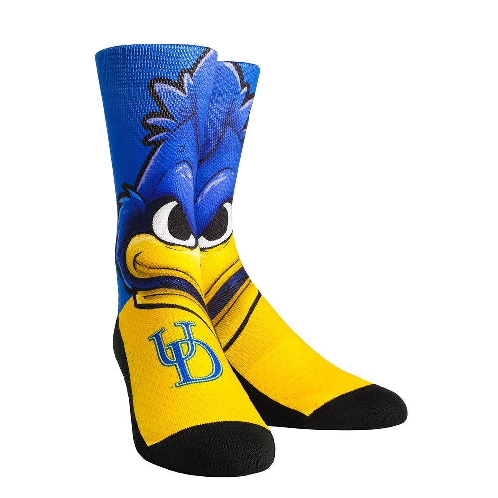 Youth White Rockem Apparel NCAA Delaware Fightin Blue Hens Logo Sketch Custom Athletic Crew Socks