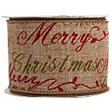 JAM Paper® Wire Edged Ribbon - 2 1/2'' x 10 yards - Natural Brown Merry Christmas - Sold Individually