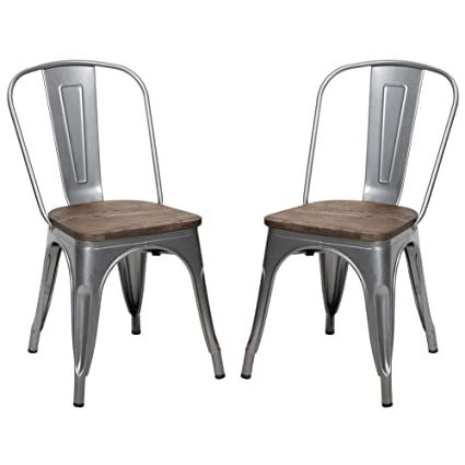 Beau Metal Stackable Dining Chair With Wood Seat, Indoor/Outdoor Chair, Set Of 2