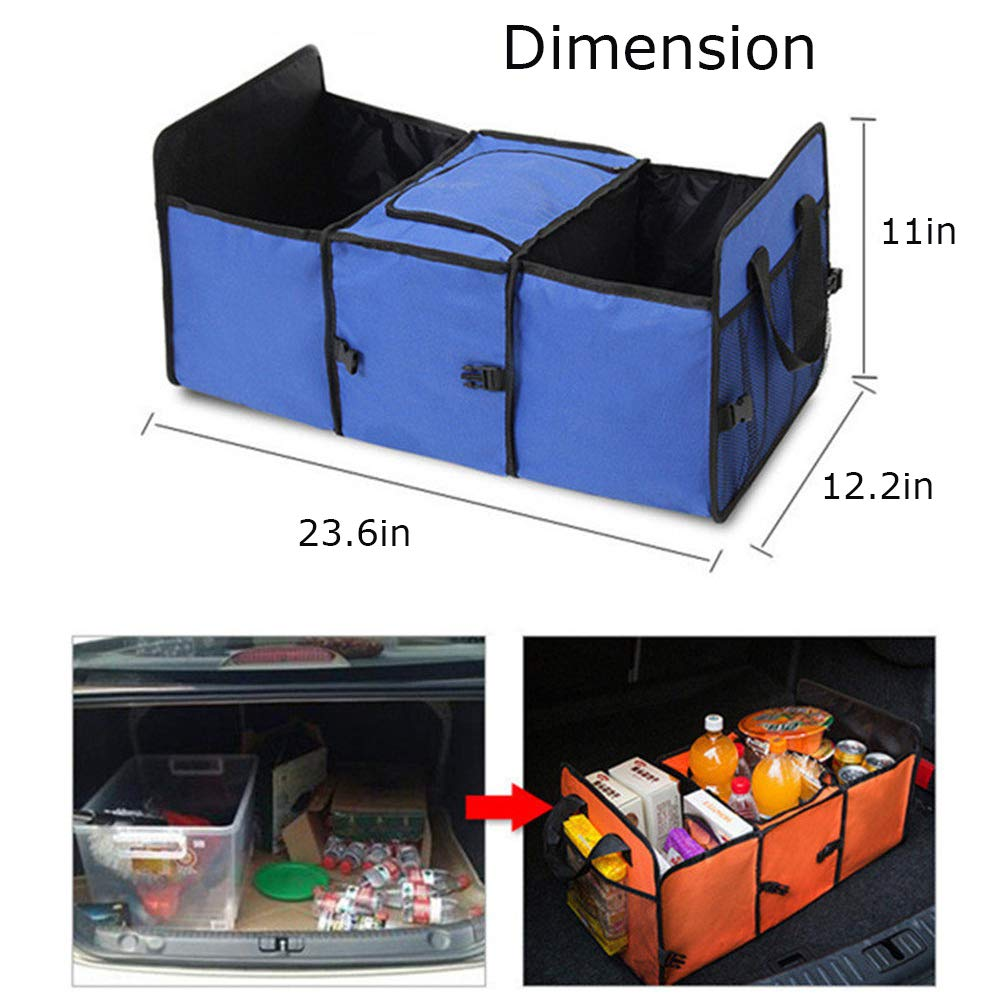 Blue MIGHTYDUTY Car Trunk Organizer with Insulated Cooler Box Foldable Backseat Storage Bag for Travel Camping