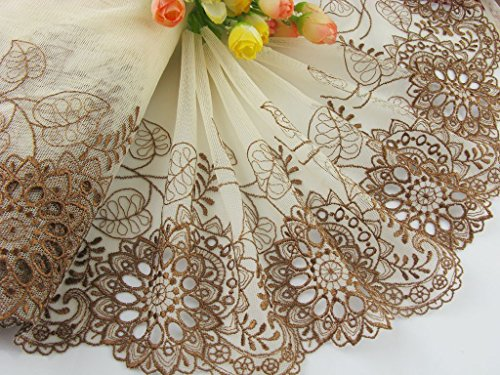 Delicate Lace Trim (7 yards delicate embroidered flower tulle lace trim for DIY (7.5 inch, brown))
