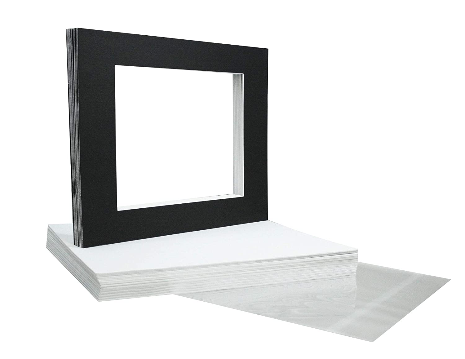 Pack of 25 11x14 BLACK Picture Mats Mattes with White Core Bevel Cut for 8x10 Photo +Backing +Bags Golden State Art FBA_PM92