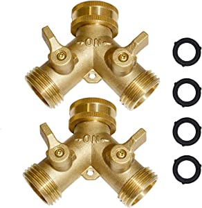 "Brass Hose Splitter Garden Hose Y Valve Connectors 2 Way Shut Off Valve with Solid Brass Handle Brass Y Valve Water Garden Hose Adapter 3/4"" GHT Thread Extra 4 Presure washers"