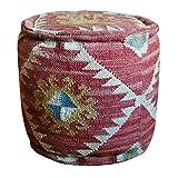 Herat Oriental Handmade Burgundy Kilim Pouf Ottoman (India), Red