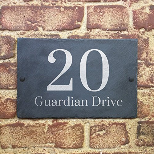 Slate House Sign Name Number Door House Sign 32x18cms
