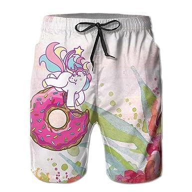e97a4cf857 Unicorn Rainbow Donut Men's Swim Trunks Quick Dry Board Beach Shorts Home  Wear | Amazon.com