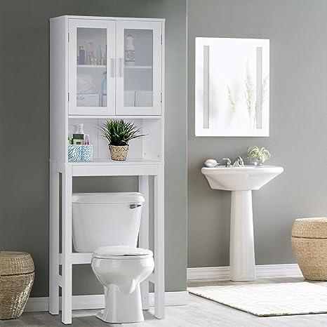 Amazon Com Wooden Over The Toilet Cabinet Storage Bestcomfort