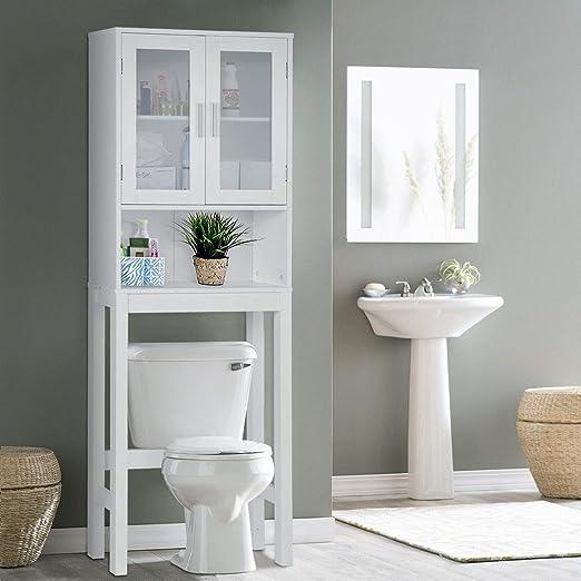 Amazon.com: Wooden Over The Toilet Cabinet Storage,BestComfort ...