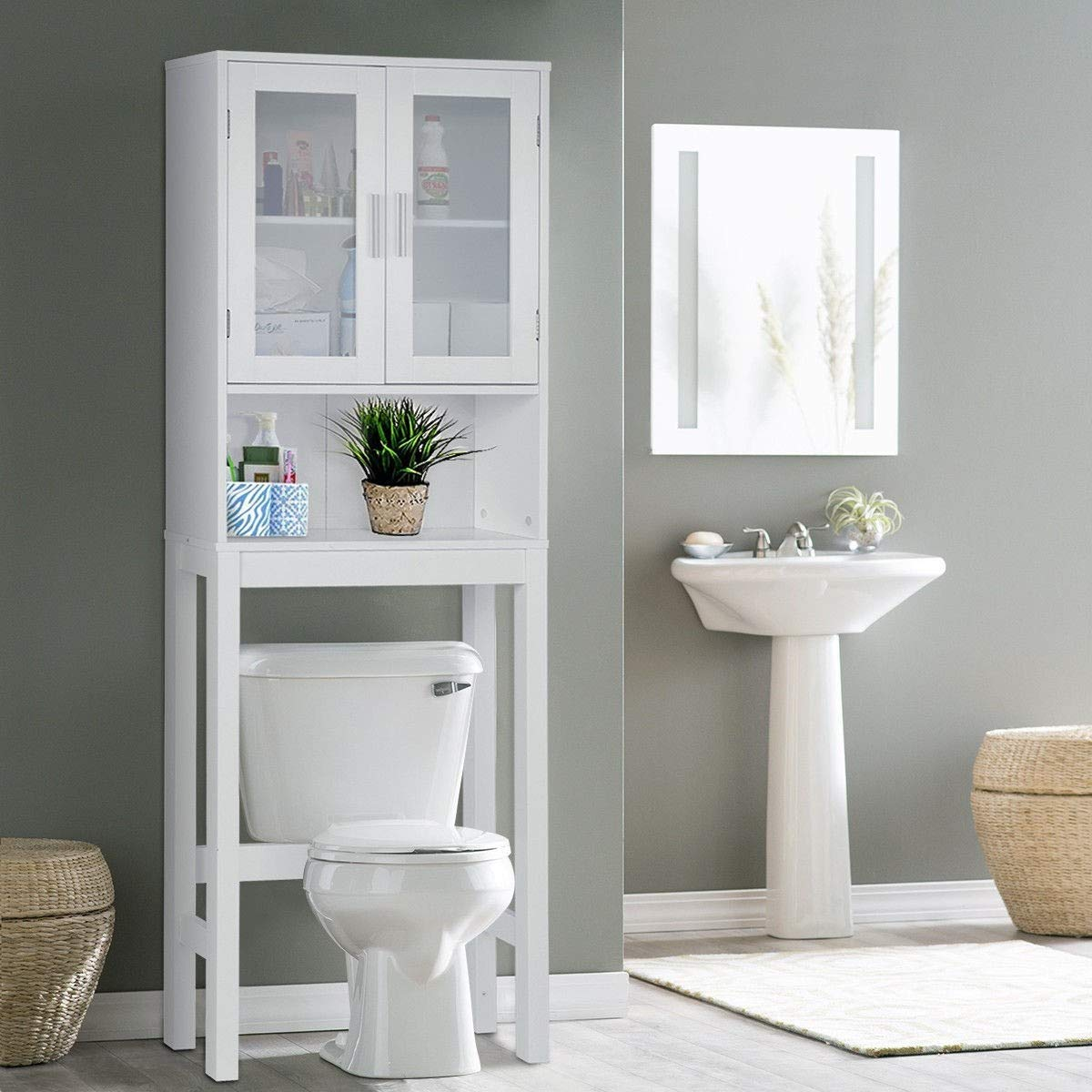 BestComfort Wooden Over The Toilet Cabinet Storage, Bathroom Organizer Over Toilet Storage, Above The Toilet Space Saver Cabinet by BestComfort