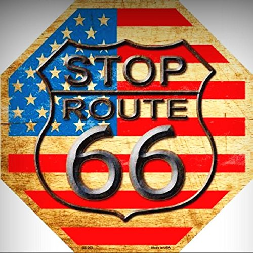 Route 66 American Flag Background Metal Novelty Octagon Stop Sign for Home/Man Cave Decor by PrettyMerchant