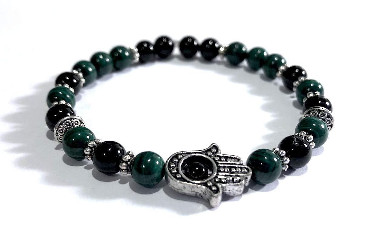 Handmade Hamsa Hand Black Tourmaline and Malachite Healing Bracelet 7 Inches