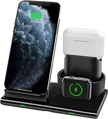 2 in 1 Wireless Charging Pad Wireless Charging Station iWatch Series 5//4//3//2 Wireless Charger Airpods 2//Pro Qi Fast Wireless Charger for iPhone 11//11 Pro Max//XR//XS Max//XS//X//8//8P