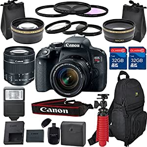 Canon EOS Rebel T7i DSLR Camera Lens Kit With Canon EF-S 18-55mm f/4-5.6 IS STM Lens (22 Piece Bundle )