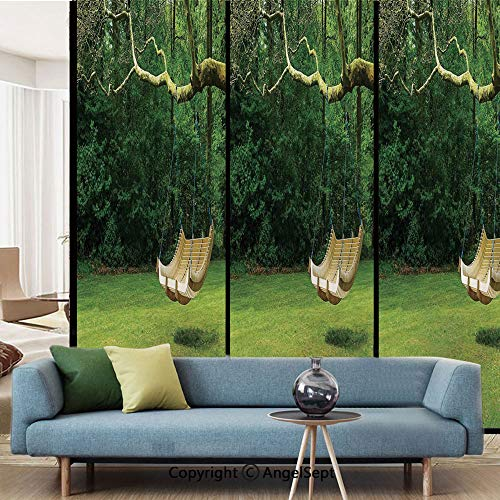 AngelSept Window Film Decorate Glass Film,Curved Swing Bench Hanging from The Bough of Tree in Lush Garden Woodland Backdrop,W15.7xL63in,for Bathroom Bedroom Living Room