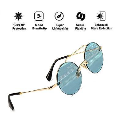 4cf5b6fe2e70 ATNKE Round Aviator Oversized Sunglasses for Men Women with PC Frame  Reflective Lens Fashion HD UV400 Protection Eyewear Blue: Amazon.co.uk:  Clothing