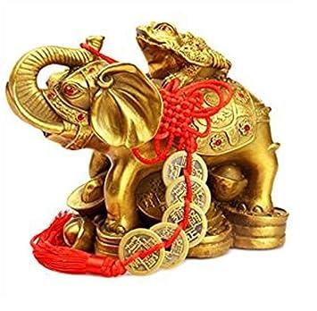 Amazon.com: Feng Shui Elefante Tortuga de cobre Amuleto ...