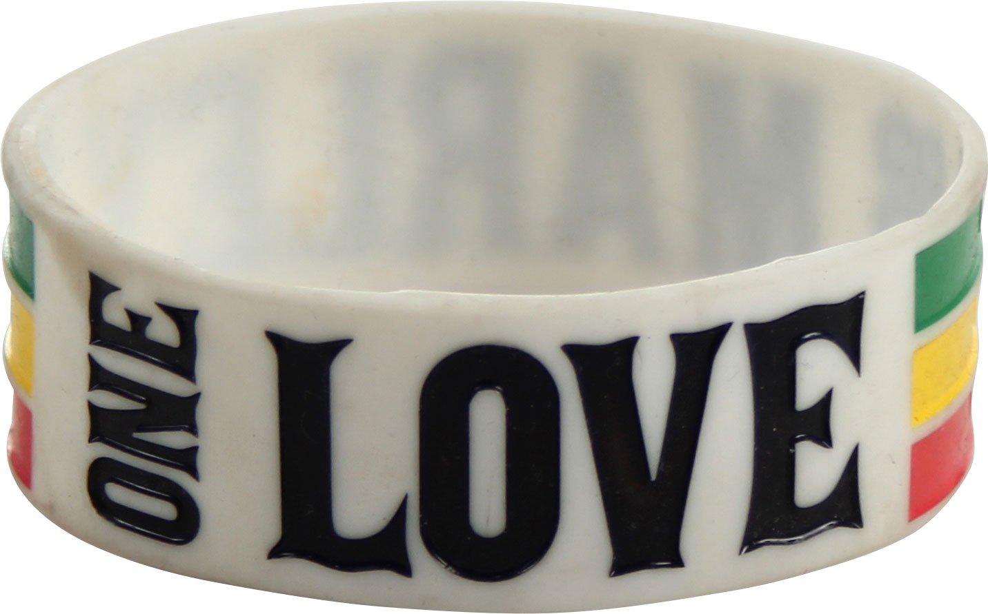 Bob Marley - One Love Silicone Wristband Wristband In White, O/S, White