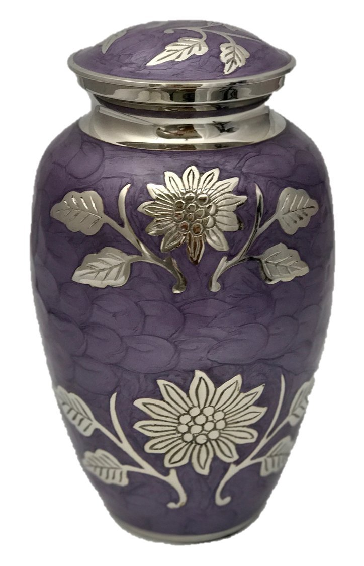 Custom Lavender Cremation Urn, Memorial Brass Adult Human Memorial Urn with Personalization by NWA (Image #1)