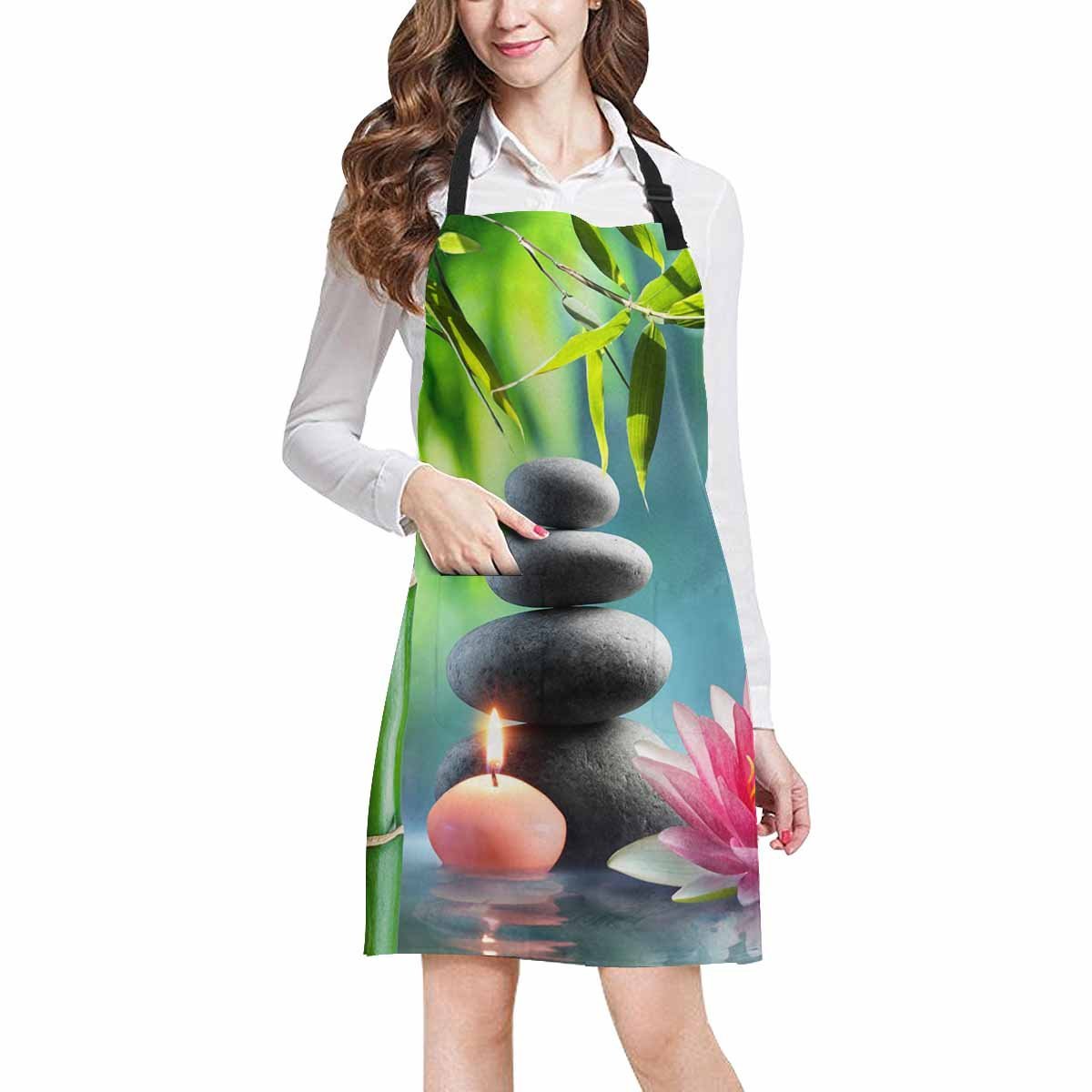 InterestPrint Spa Natural Theme with Bamboo Massage Stones and Waterlily Chef Kitchen Apron, Adjustable Strap & Waist Ties, Front Pockets, Perfect for Cooking, Baking, Barbequing, Large Size