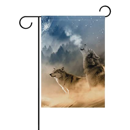 Amazon.com: WIHVE Garden Flag Wolves Desert Sandy Moon ...
