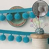 Jumbo Pom Pom Trim Turquoise (Per Metre) by Frumble Fabrics