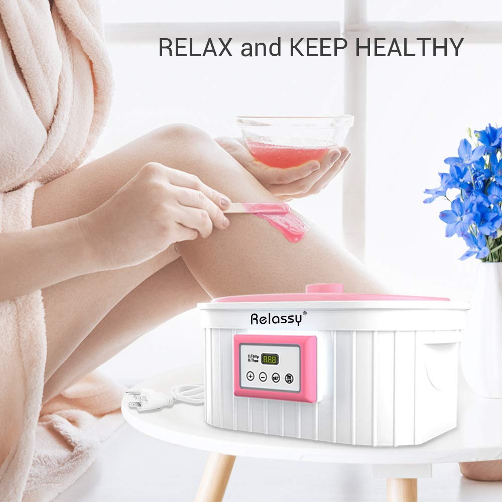 Relassy Paraffin Wax Machine for Hand and Feet,5000ml Paraffin Wax Warmer,Paraffin Wax Bath,Timing Keep Warm Function,Smooth and Soft Hands Foot Skin Paraffin Spa Hot Wax Therapy,Pink Paraffin Wax Kit by Relassy
