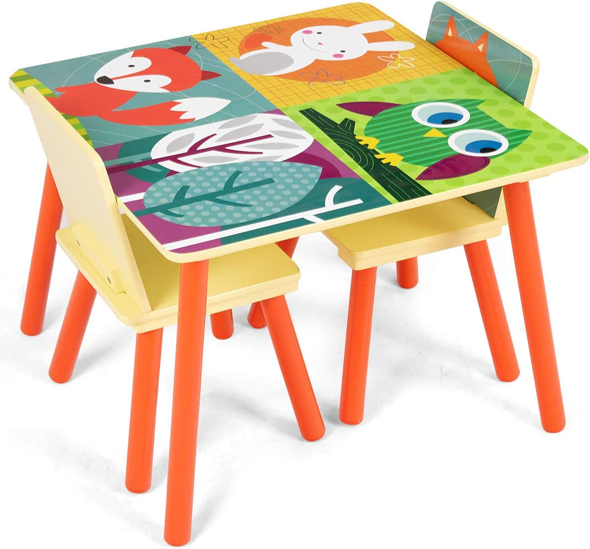 COSTWAY Kids Table Chair Set with Table + 2PCS Chairs, Forest Animal Theme Cartoon Pattern, Security Rounded Corners, Eco friendly Wood, Multifunction