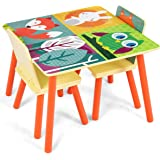 COSTWAY Kids Table Chair Set with Table + 2PCS Chairs, Forest Animal Theme Cartoon Pattern, Security Rounded Corners, Eco-friendly Wood, Multifunction Nursery Furniture (Yellow)