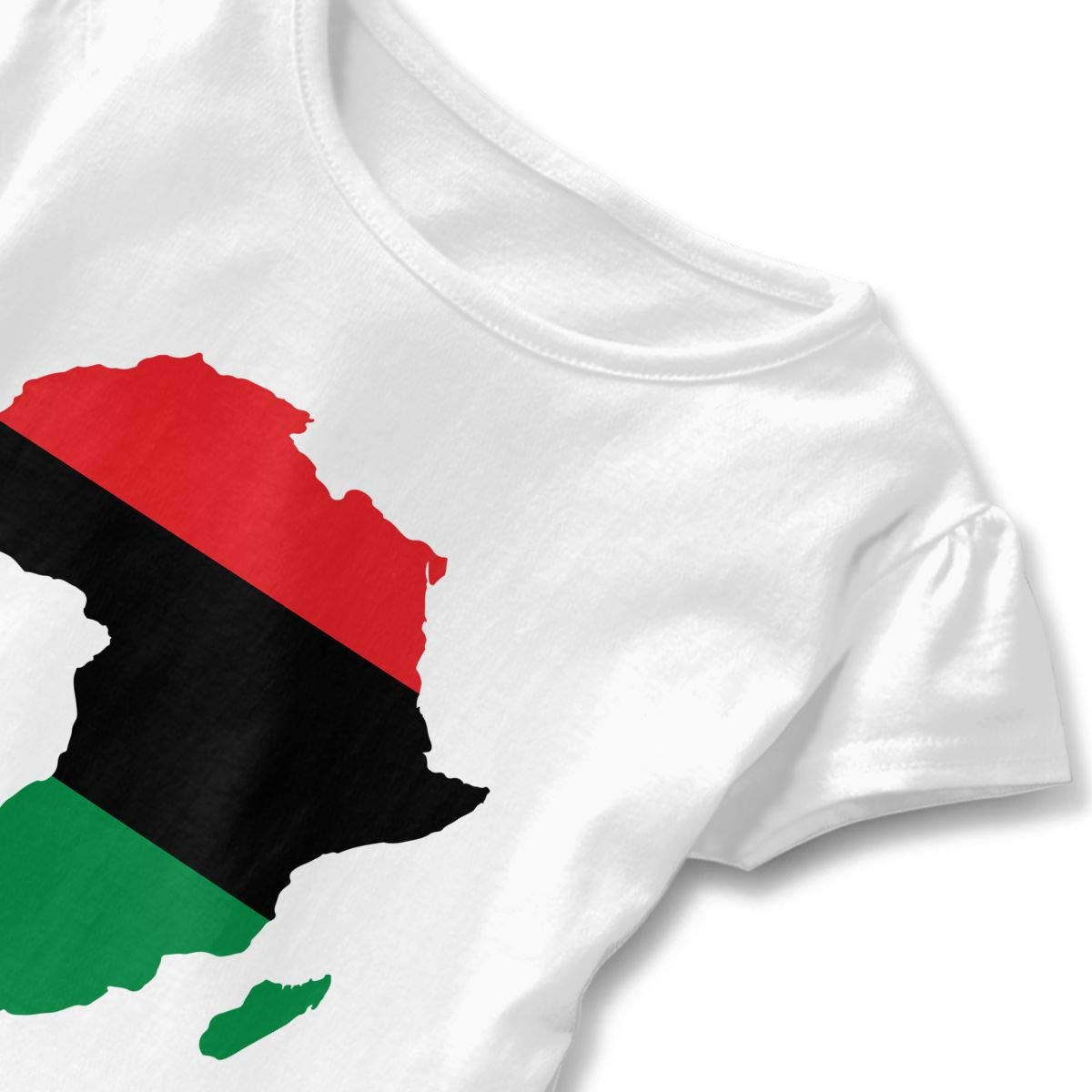 A Flag-Map of The Pan-African Kids Girls Short Sleeve T-Shirts Ruffles Shirt Tee for 2-6T