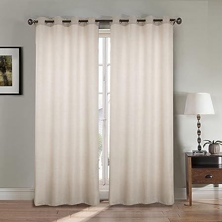 Paire de double rideau aspect lin épais - blanc-casse ...