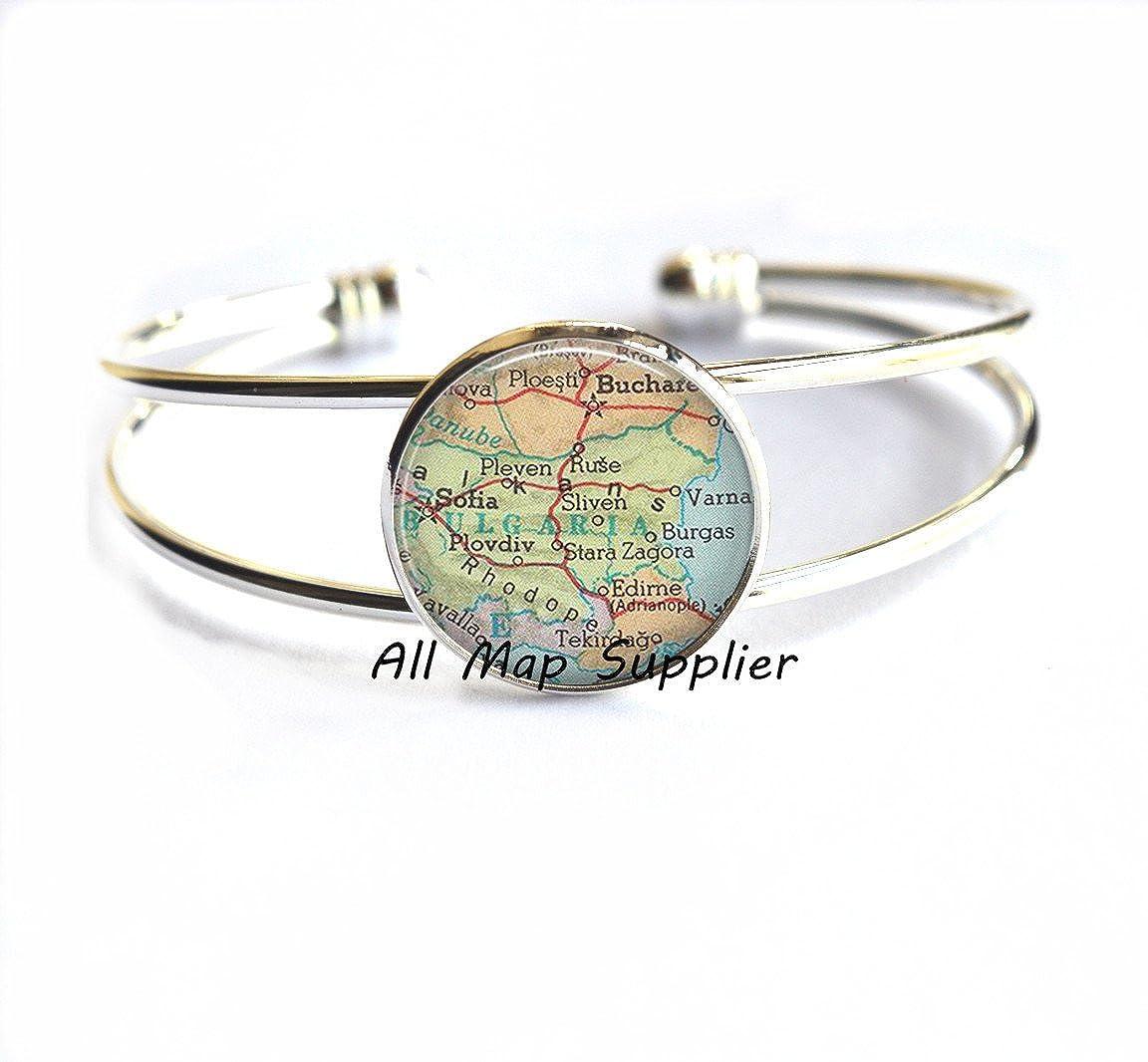 Bulgaria Bracelets Bulgaria Bracelet,AO198 Charming Bracelet,Bulgaria map Bracelets Bulgaria map Bracelet