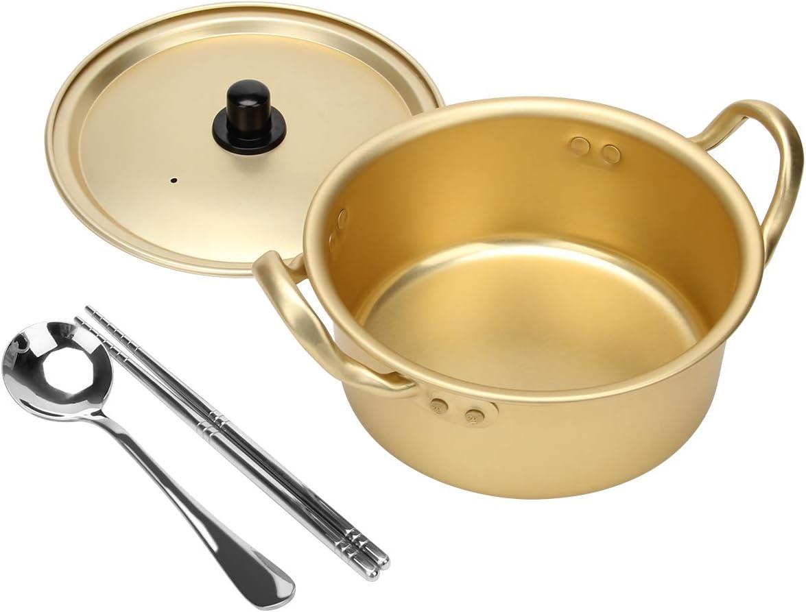 Ahier Ramen Pot KoreanRamenCookingPotWith Lid Spoon and Chopsticks, Korean Ramen Noodle Pot Fast Heating For Kitchen Cookware