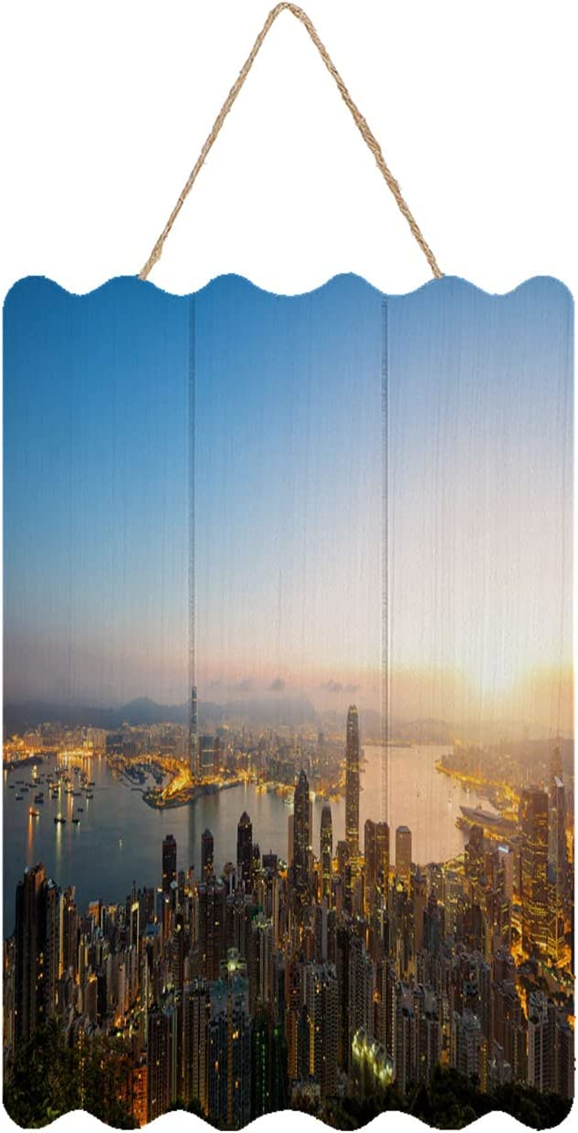 Sunrise Wooden Wall Art Decor Home Decor Aerial View Of Hong Kong Skyline At Sunrise Farmhouse Country Rustic Decorative For Living Room Bedroom Housewarming Gift 7.9x11.8in