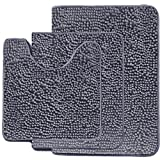 MAYSHAG Bath Rug Set 3 Piece Bathroom Contour Rugs Combo, Soft Shaggy 2 Piece Bath Shower Mat and U-Shaped Toilet Floor Rug Grey