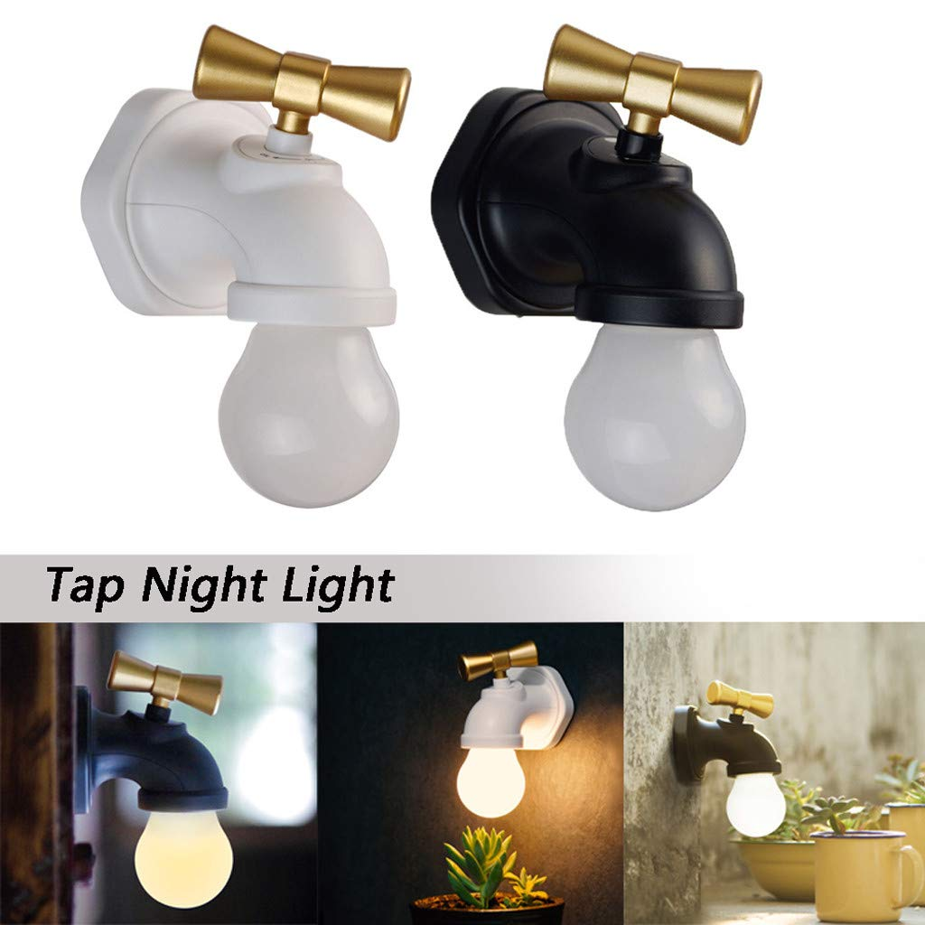 Flurries2PCS Drop Light - Faucet Type Voice Control LED Wall Light - USB Rechargeable Tap Night Lamp - Warm White Kids Baby Nursery Night Light - Home Bedroom Decoration Birthday Gift (White+Black)