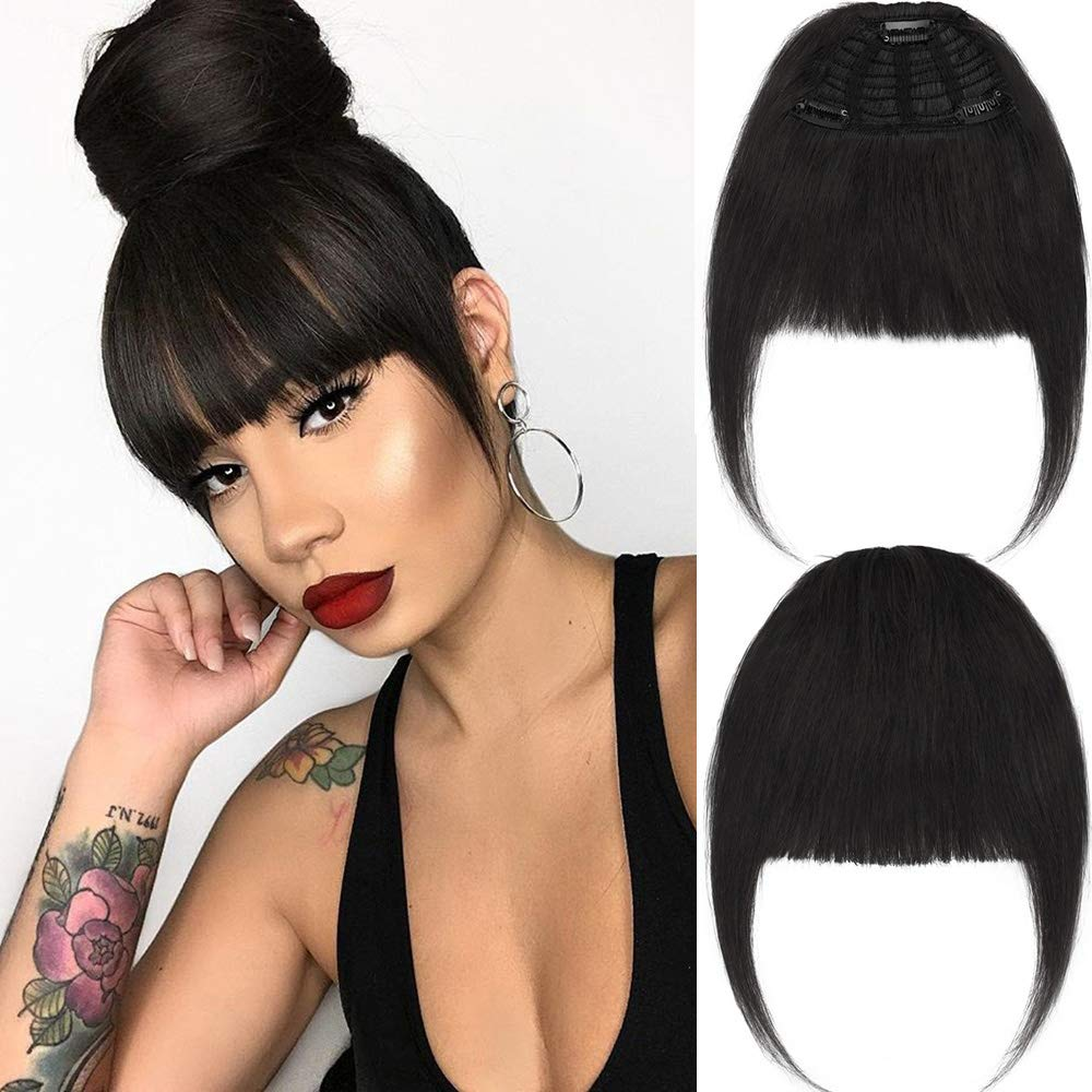New Fashion Clip in Bangs One Piece Fringe 100% Natural Remy Human Hair Extensions Hairpiece Neat Fringe Hand Tied Thick Straight Bangs with Temple Hair Piece Accessories for Girls (Natural Black)