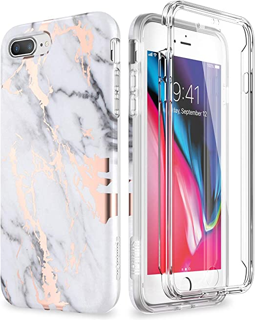 SURITCH Case for iPhone 7 Plus,iPhone 8 Plus[Built-in Screen Protector] Rose Gold Marble Shockproof Rugged 360 Full Body Bumper Protective Cover for ...