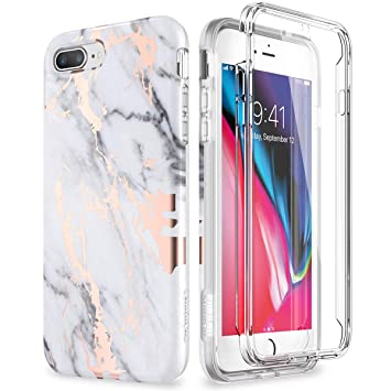 SURITCH Compatible con Funda iPhone 7 Plus / 8 Plus Silicona 360 Grados Marmol Bumper Flexible TPU Elegante Delantera y Trasera Irrompible Anti Choque ...