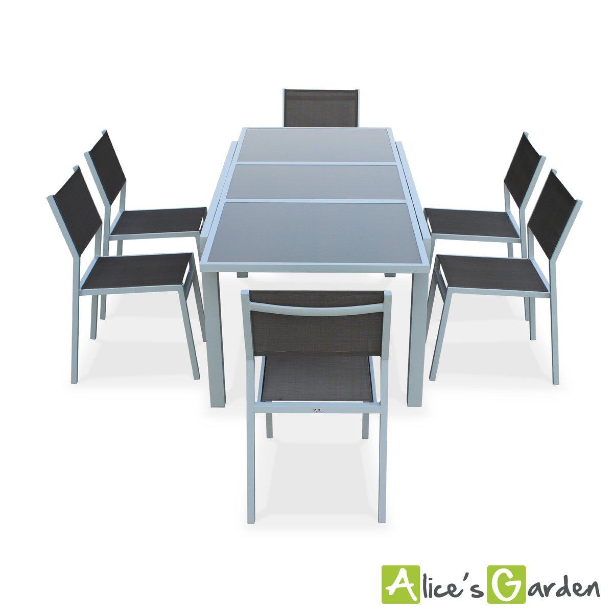Alice\'s Garden - Salon de jardin table extensible - Alabama Blanc ...